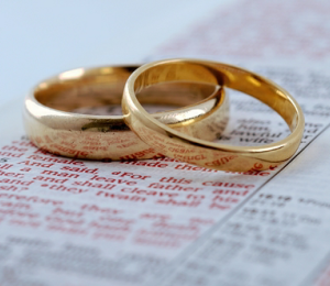 [Wedding Bands on the Pages of a Bible]